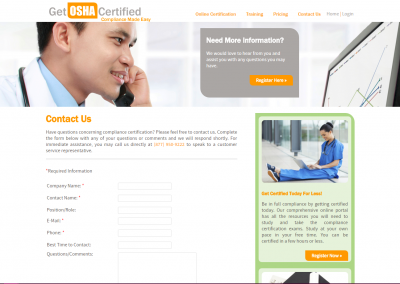 Get OSHA Certified Medical Waste Compliance Portal Certification website design software development project